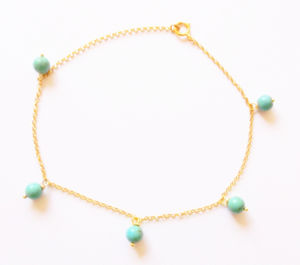 22 K Gold Vermeil And Turquoise Anklet - body jewellery