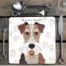 Wire Fox Terrier Personalised Dog Placemat/Coaster