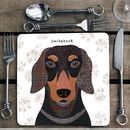 Dachshund Personalised Dog Placemat/Coaster