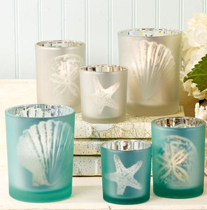 Seashore Frosted Glass Candle Holder - occasional supplies