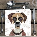 Boxer Personalised Dog Placemat/Coaster