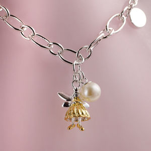Childs Gold Vermeil Fairy Wish Silver Charm Bracelet - children's jewellery