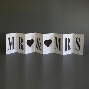 Personalised Wedding Card; Mr Mrs Concertina Card