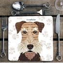 Airedale Personalised Dog Placemat/Coaster