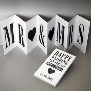 Personalised Anniversary Card; Mr Mrs Concertina Card - anniversary cards