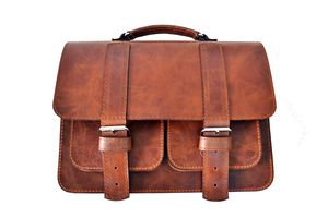 Brown Leather Satchel With Double Buckle