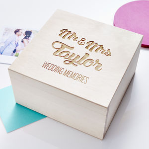 Wooden Personalised Wedding Keepsake Box