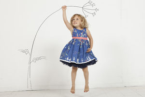 Martha Navy Butterfly Dress - christening wear