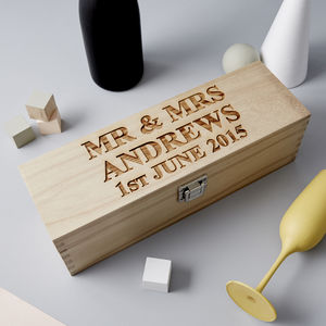 Personalised Wooden Wedding Bottle Box - wedding day inspired gifts