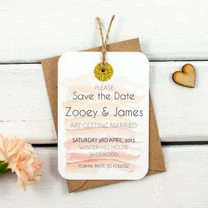 Watercolour Gold Glitter Save The Date - wedding stationery
