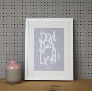 Personalised 'Best Day Ever' Wedding Print