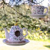 Vintage Floral Tea Party Bird Feeder - garden