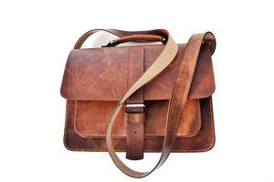 Brown Handmade Leather Satchel - wallets & bags