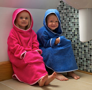 Personalised Childrens Hooded Poncho - bathroom