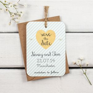 Mint Stripe Gem Save The Date - pretty pastels