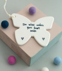 'Do What Makes Your Heart Smile' Butterfly Decoration - hanging decorations