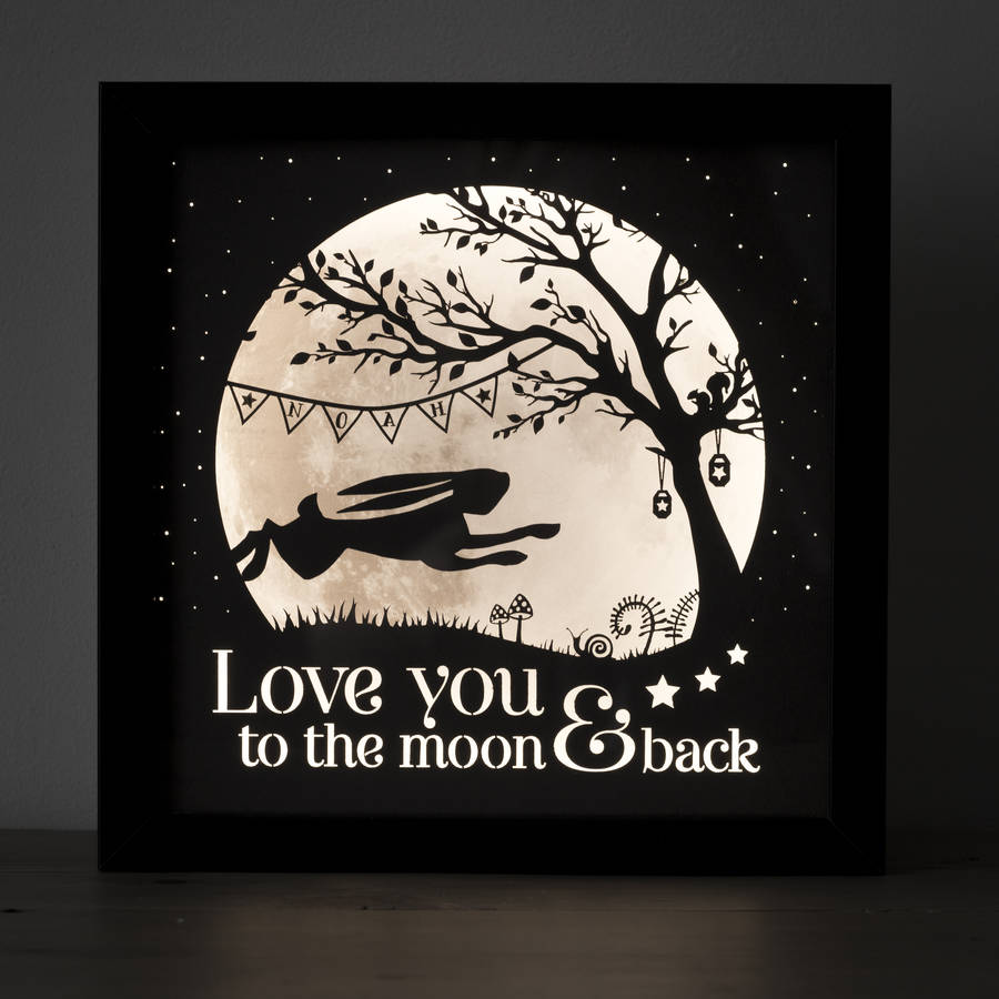 love you to the moon and back nursery lamp black frame mocha artwork black frame mocha artwork