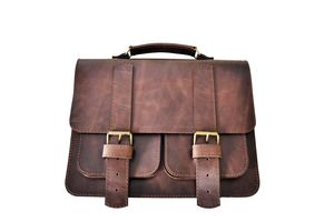 Stone Brown Leather Satchel