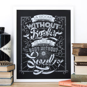'A Room Without Books' Typographic Screen Print