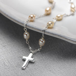 Silver Cross On Pearl Necklace