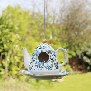 Vintage Floral Blue Teapot Bird Feeder