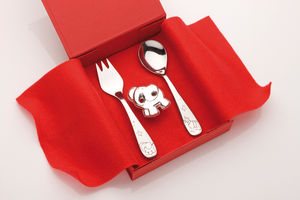 Elephant Silver Dummy Clip And Cutlery Baby Gift Set