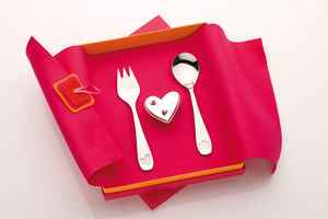 Designer Silver Heart Dummy Clip And Cutlery Gift Set - kitchen