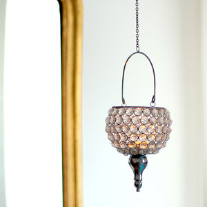 Art Deco Tea Light Crystal Hanging Lantern