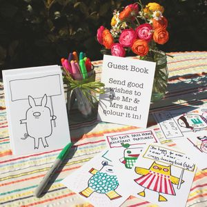 Wedding Guest Book Colouring Postcards