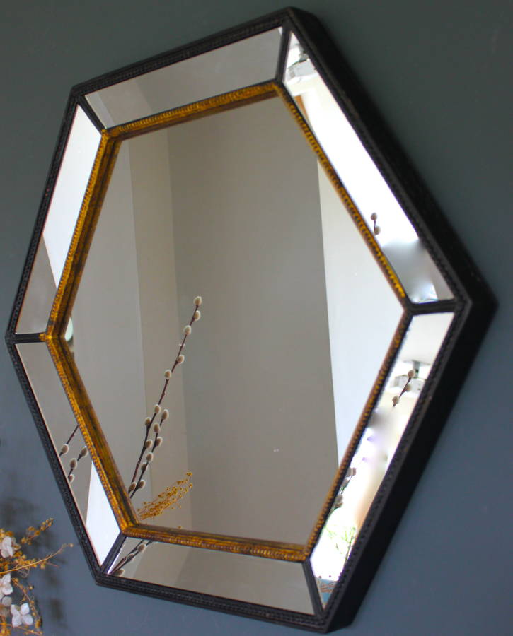 Gold Edged Hexagonal Vintage Wall Mirror By The Forest
