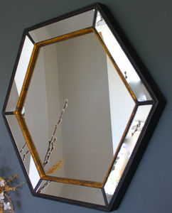 Gold Edged Hexagonal Vintage Wall Mirror - living room