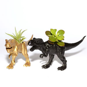 Hand Painted T Rex Dinosaur Planter With Plant