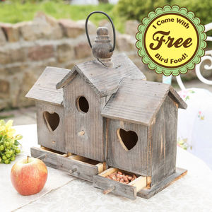 Three Compartment Large Wooden Bird Chateau - bird feeders
