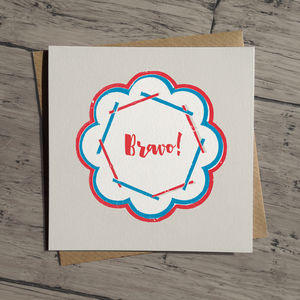 Bravo Congratulations Well Done Card In A Retro Style