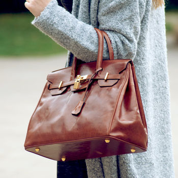 Italian Leather Birkin Style Bag. 'The Barella'