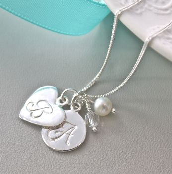 Sterling Silver Initial Pendant - Rock Crystal and White Fresh Water Pearl
