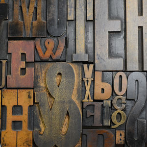 Vintage Letterpress Printers Blocks Large - decorative letters