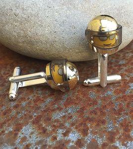 Chromed Gold Racing Helmet Cufflinks - cufflinks