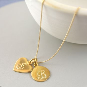 Gold Initial And Number Necklace