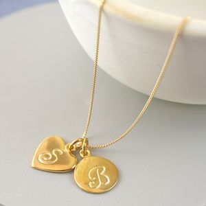Gold Vermeil Initial And Number Necklace
