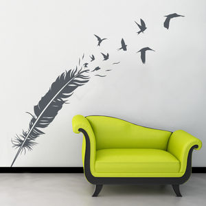 Feather And Birds Feature Wall Sticker - wall stickers