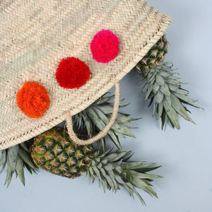 Multi Coloured Market Pom Pom Basket