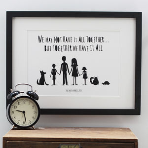 My Family And Other Animals Personalised Print In Mount - personalised
