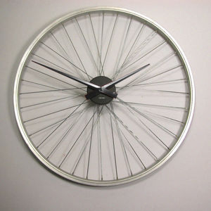 Upcycled Bicycle Wheel Clock - clocks