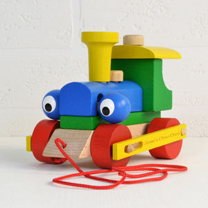 Personalised Wooden Train Take Apart And Pull Along Toy - christening gifts