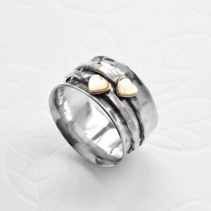 Sterling Silver Mixed Metal Spinning Hearts Ring - 25th anniversary: silver