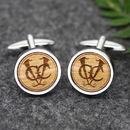 Personalised Wooden Wedding Logo Cufflinks