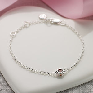 January Garnet Birthstone Bracelet - children's jewellery