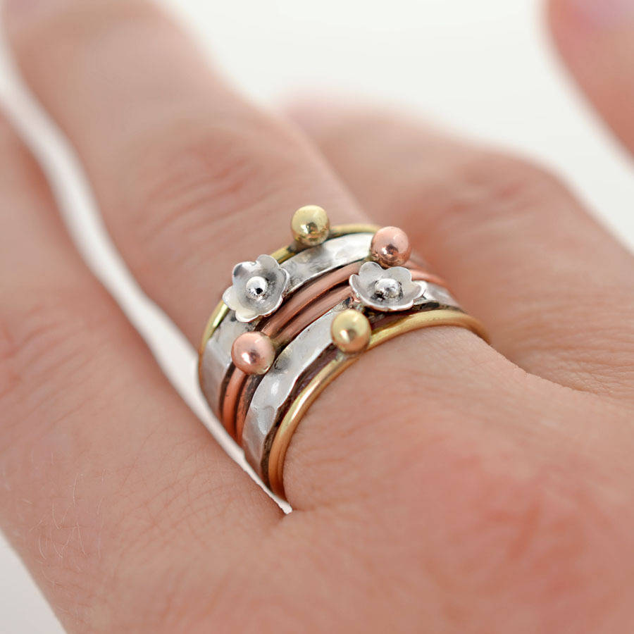 brass stacking products and sterling metals il fullxfull wedding copper set rings edition dark stack mixed metal silver