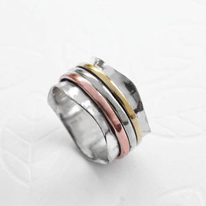 Silver Mixed Metal Triple Scalloped Spinning Ring - rings